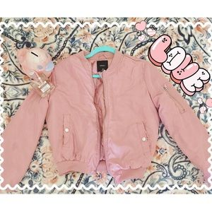 Adorable Forever 21 Pastel Pink Puffy Moto Jacket
